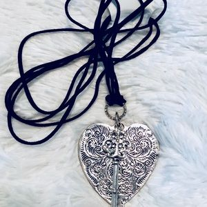 NEW Black Rope Heart & Key Necklace
